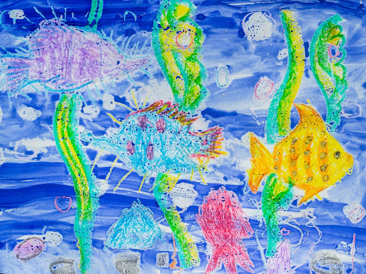 Lapsi pyrkii realismiin piirtämällä kaloille erilaisia eviä. Lapset rakastavat ja arvostavat eläinaiheita.