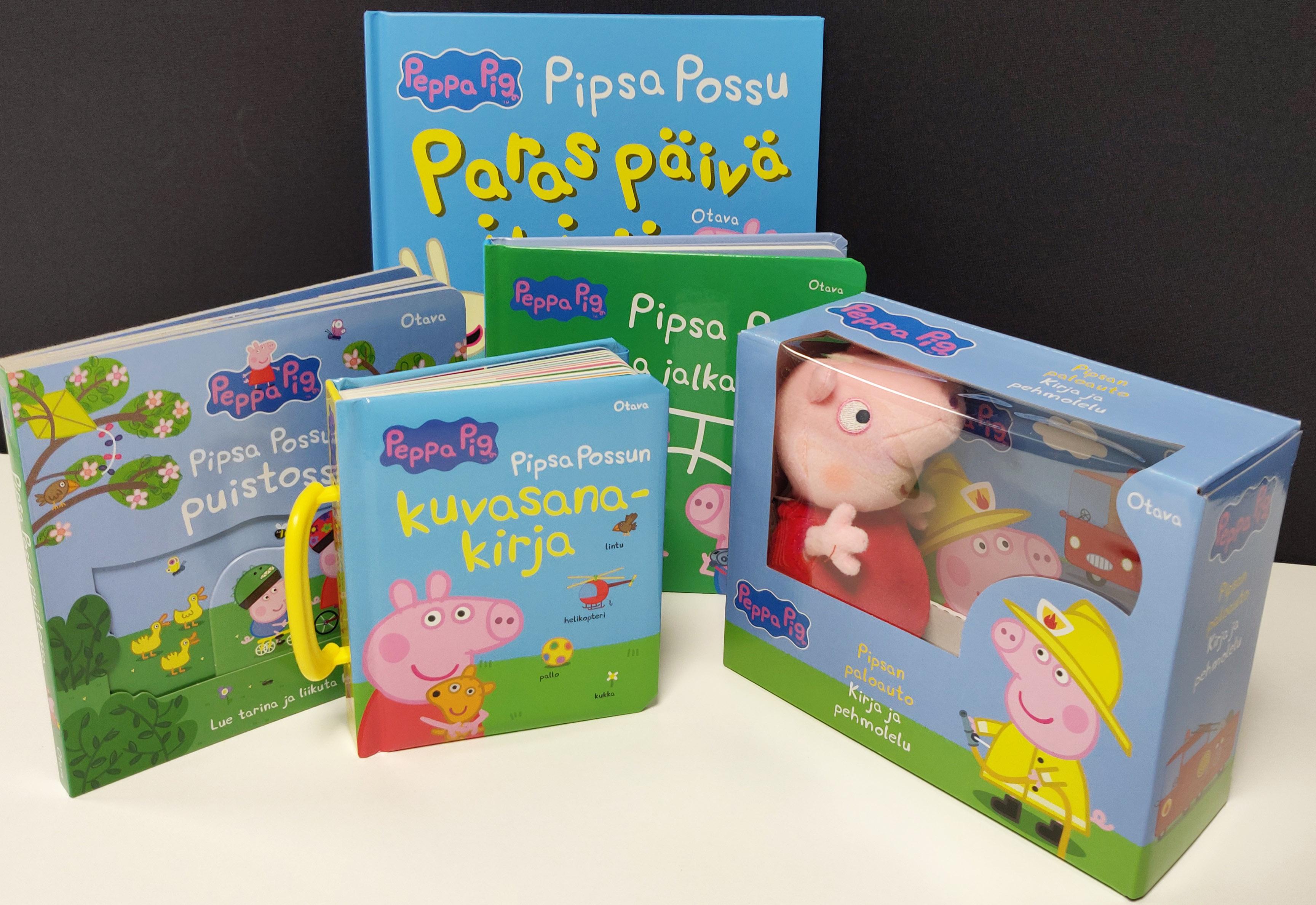 Pakettiin kuuluvat Pipsan paloauto -kirja ja pehmolelu, Pipsa-possu pelaa jalkapalloa, Pipsa-possun kuvasanakirja, Pipsa-possun paras päivä ikinä -magneettikirja sekä Pipsa-possu puistossa -kirja, joka sisältää liikuteltavia pahviosia. Paketin arvo on 63,75 euroa.