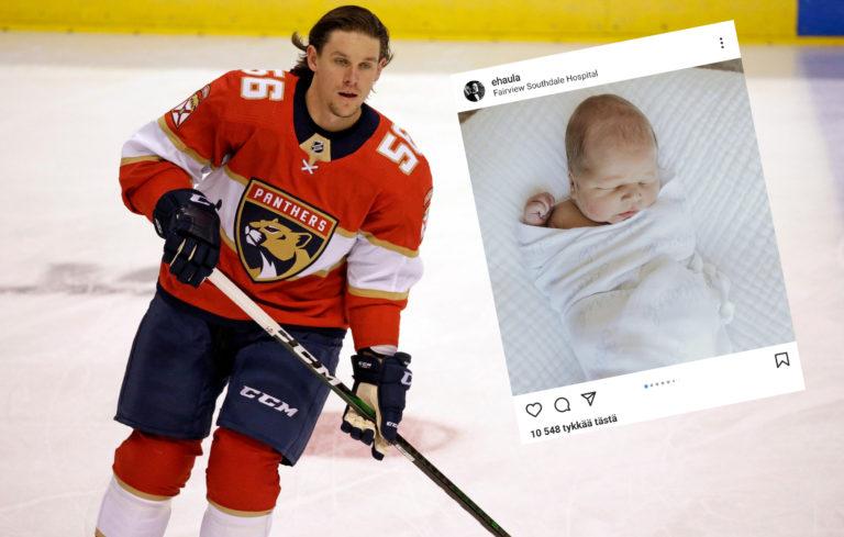 Erik Haula sai poikavauvan.