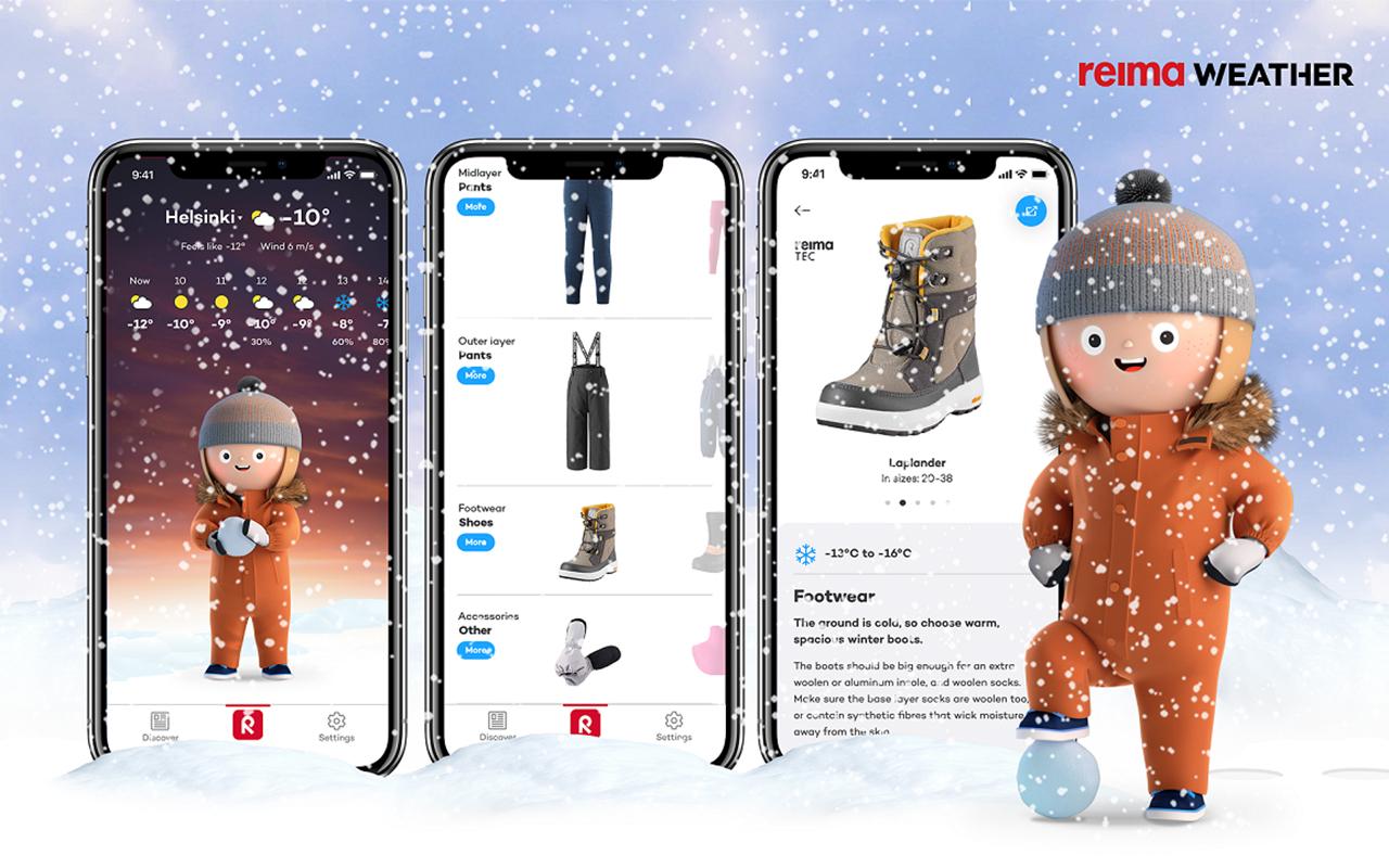 Reima Weather appin ulkoasu on piirroshahmoineen hauskan leikkisä – iloinen lapsonen seisoo lumisateessa säähän sopivassa varustuksessa, jonka väriä voi vaihtaa mieleisekseen.