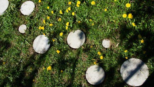 betonilaatat nurmikossa